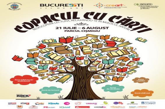 """Invitație la lectură în Parcul Cișmigiu, în perioada 21 iulie – 6 august 2014, în cadrul proiectului ,,Copacul cu cărți"""""""